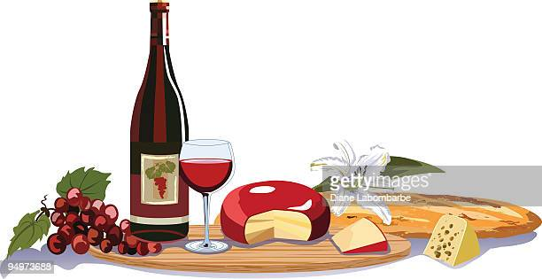 Wine and Cheese Assortment of Elements on Cutting Board