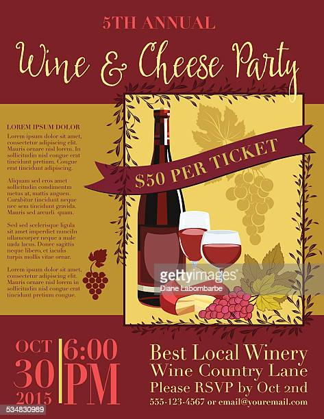 wine and cheese invitation poster template - maroon stock illustrations, clip art, cartoons, & icons