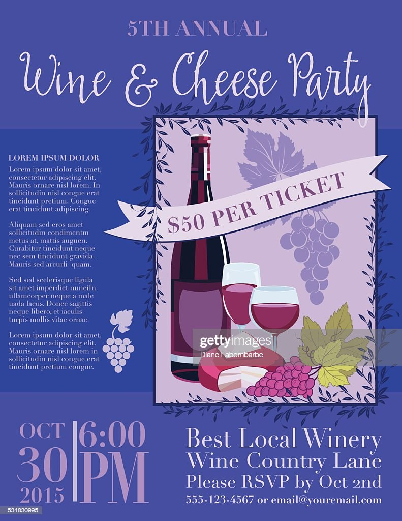 Wine And Cheese Invitation Poster Template Vector Art | Getty Images