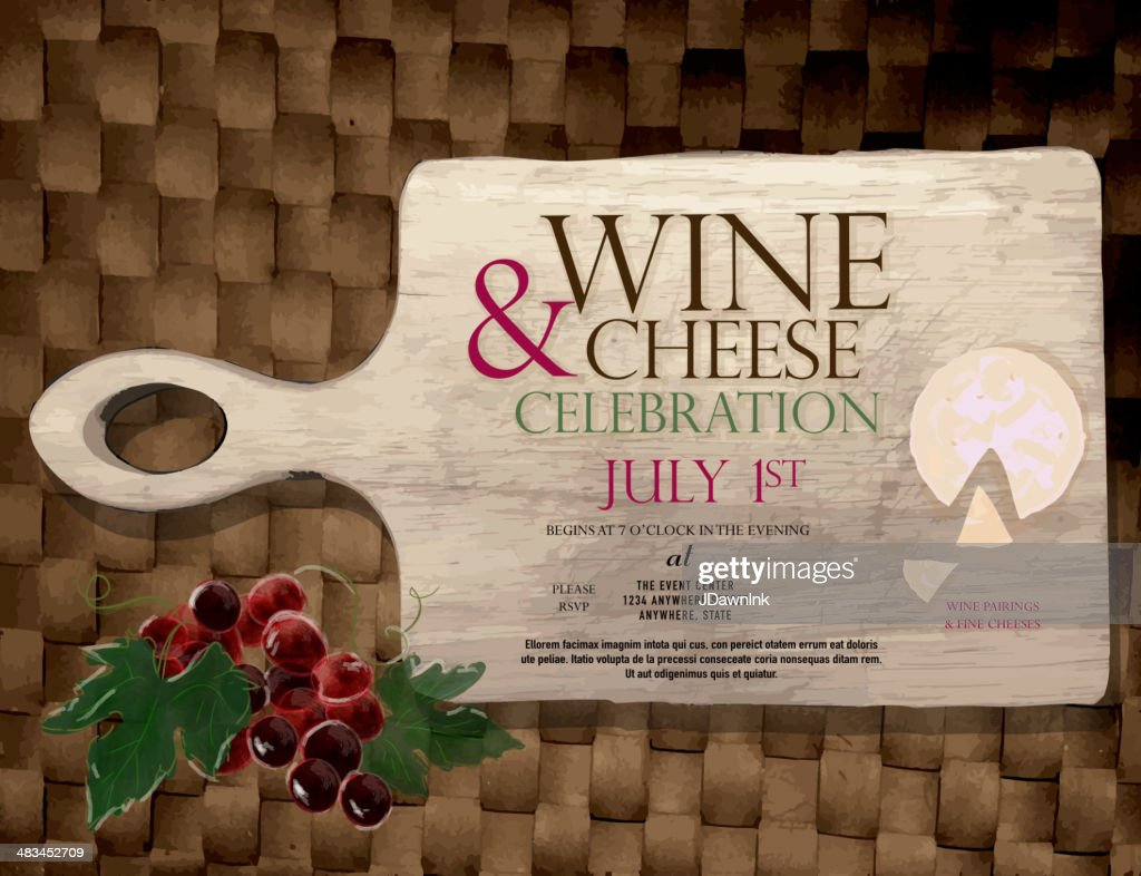wine and cheese party invitation design template vector