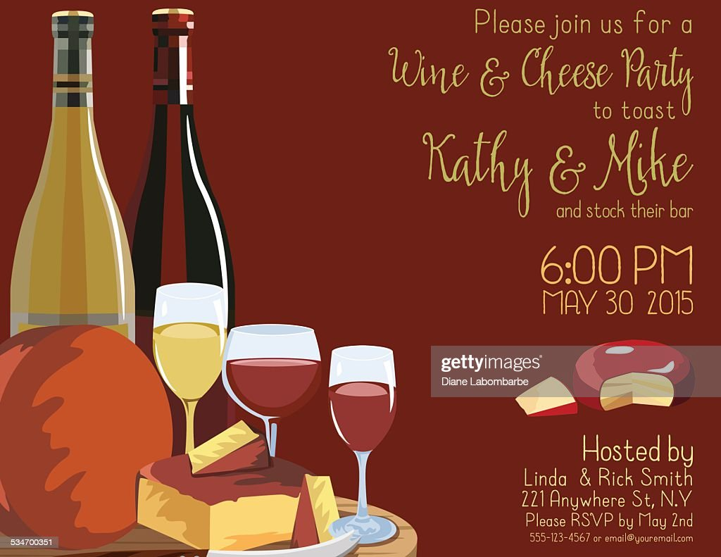 Wine And Cheese Party Invitation Template Vector Art | Getty Images