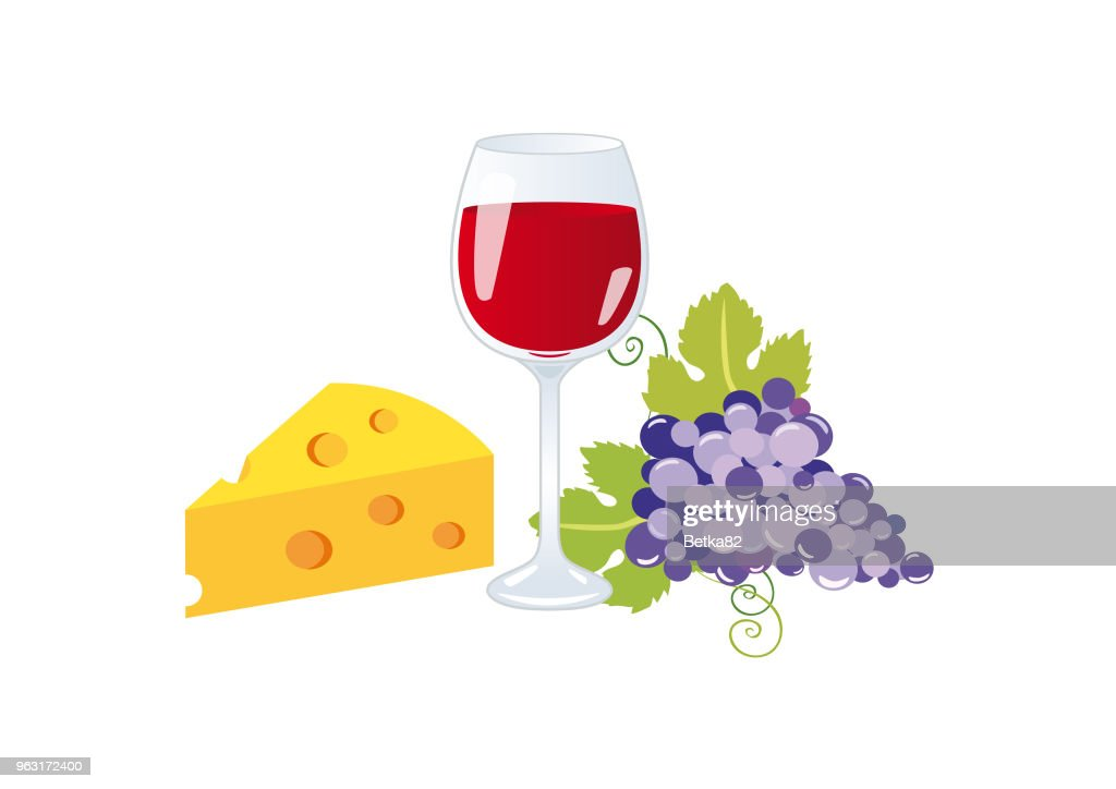 Wine and cheese vector
