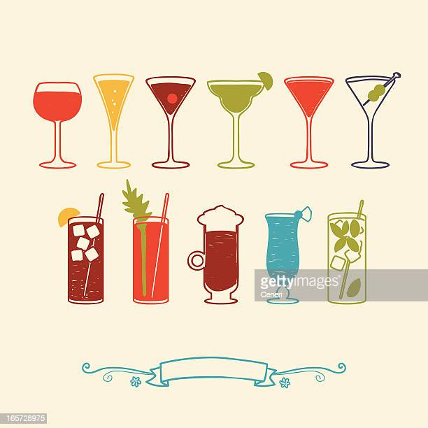 wine and cocktails - margarita stock illustrations