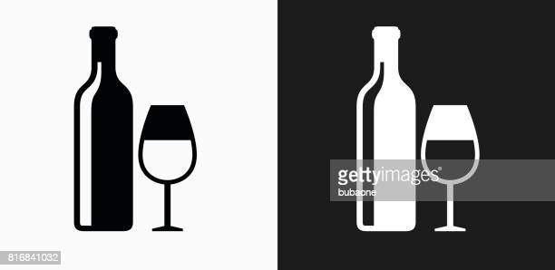 Wine and Glass Icon on Black and White Vector Backgrounds