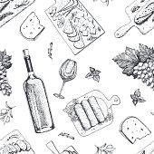 Wine and gourmet snacks seamless pattern. Cheese, meat, bread, grape hand drawn. Gourmet food pattern.