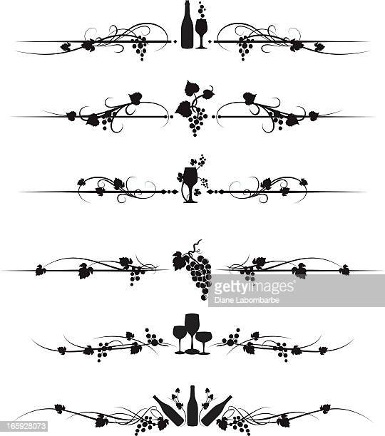 wine and grapes text divider set - vine plant stock illustrations