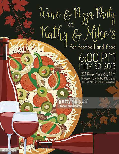 Wine And Pizza Party Invitation Template