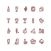 Wine and sommelier line vector icons
