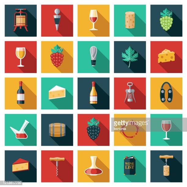 wine and winemaking icon set - cork stopper stock illustrations