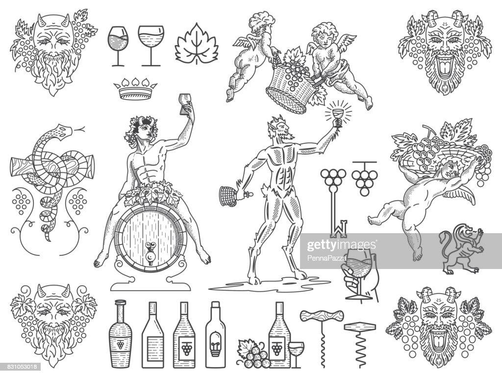 Wine badges and icons bundle  black on white