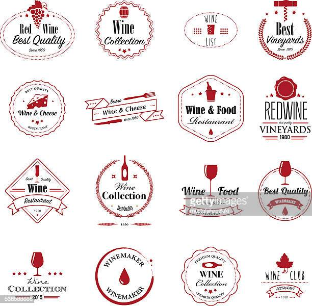 wine badges - red wine stock illustrations, clip art, cartoons, & icons