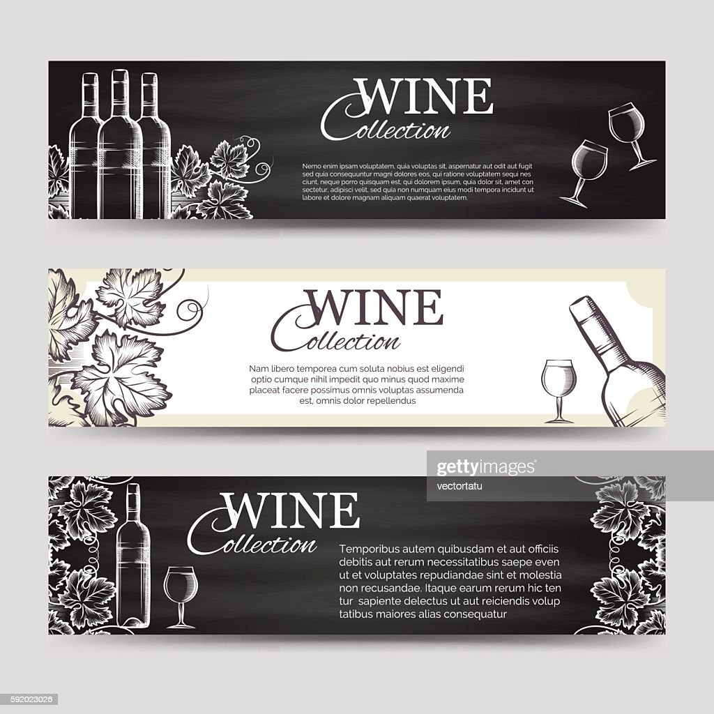 Wine banners with glasses and bottles