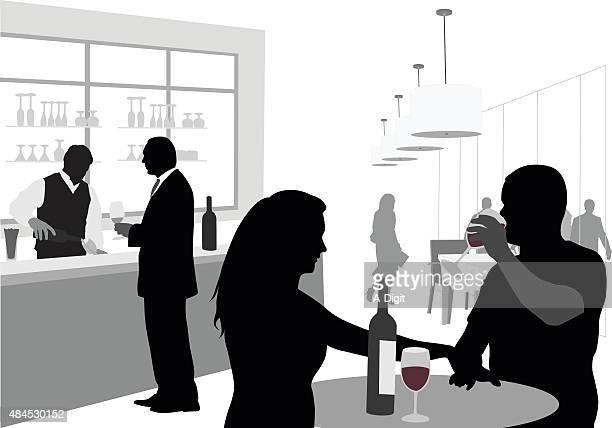 ilustraciones, imágenes clip art, dibujos animados e iconos de stock de pareja bebiendo vino bar - bar