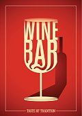 Wine bar poster design with typography.