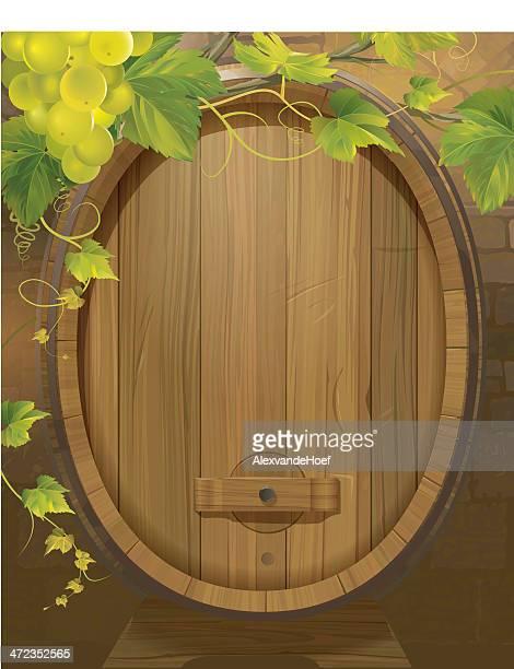 Barril de vinho e Grapevine fundo