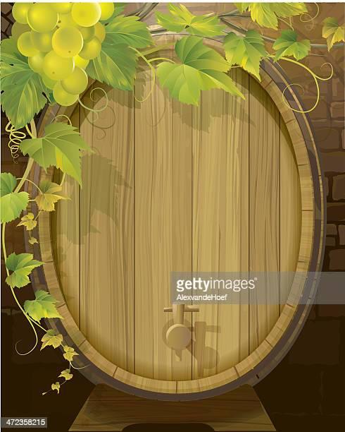 Uvas e Barril de vinho branco