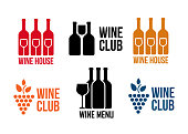 Wine black icons on white background set vector