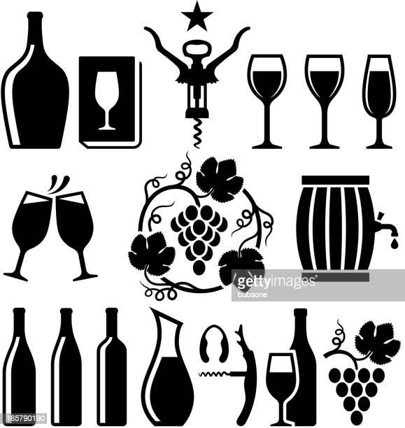 wine black & white royalty free vector icon set - red wine stock illustrations, clip art, cartoons, & icons