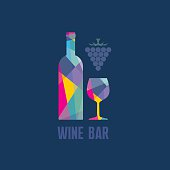 Wine Bottle and Glass - Abstract Illustration