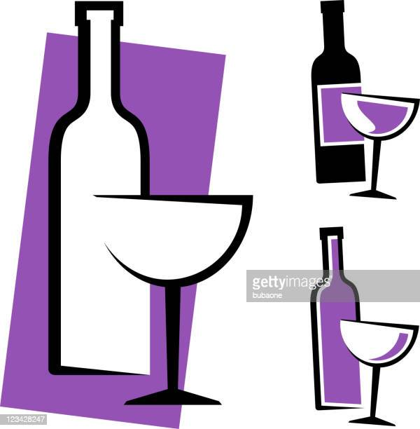 wine bottle and glass design - red wine stock illustrations, clip art, cartoons, & icons