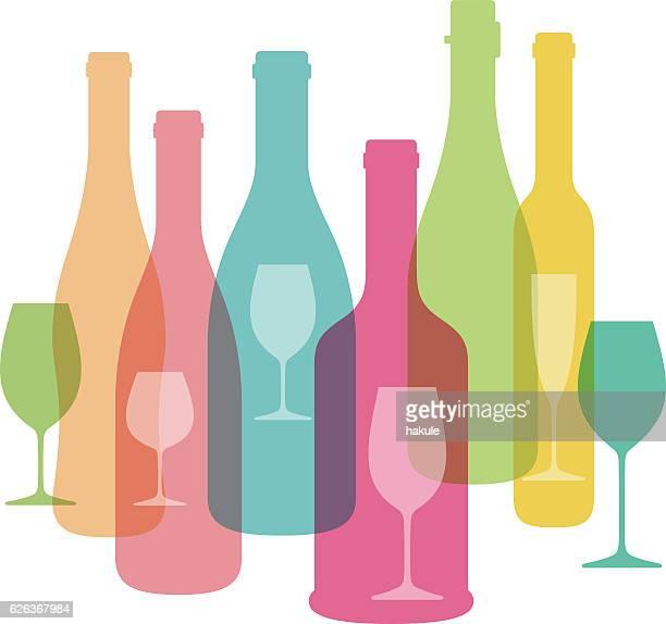 ilustraciones, imágenes clip art, dibujos animados e iconos de stock de wine bottle and glass illustration. vector. - botella de vino