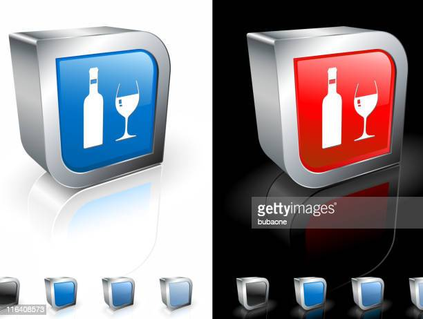 wine bottle and glass on 3d royalty free vector art - mulled wine stock illustrations, clip art, cartoons, & icons