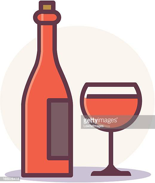 wine bottle and glass - red wine stock illustrations, clip art, cartoons, & icons