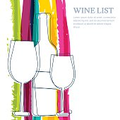 Wine bottle, glass silhouette and rainbow stripes watercolor vector background.