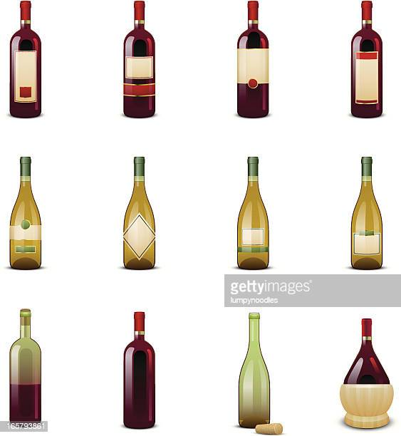 wine bottle icons - red wine stock illustrations, clip art, cartoons, & icons