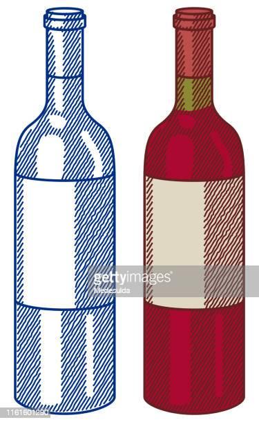 wine bottle sketch - brandy stock illustrations, clip art, cartoons, & icons