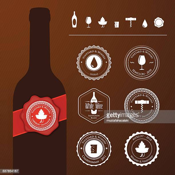 ilustrações de stock, clip art, desenhos animados e ícones de garrafa de vinho com selos e ícones - folha de parreira