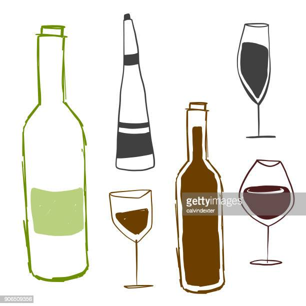 stockillustraties, clipart, cartoons en iconen met wijnflessen en drinkglazen - food and drink