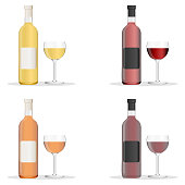Wine bottles and glasses filled with different varieties of wine. Set of white, rose, and red wine bottles and glas. isolated on white background