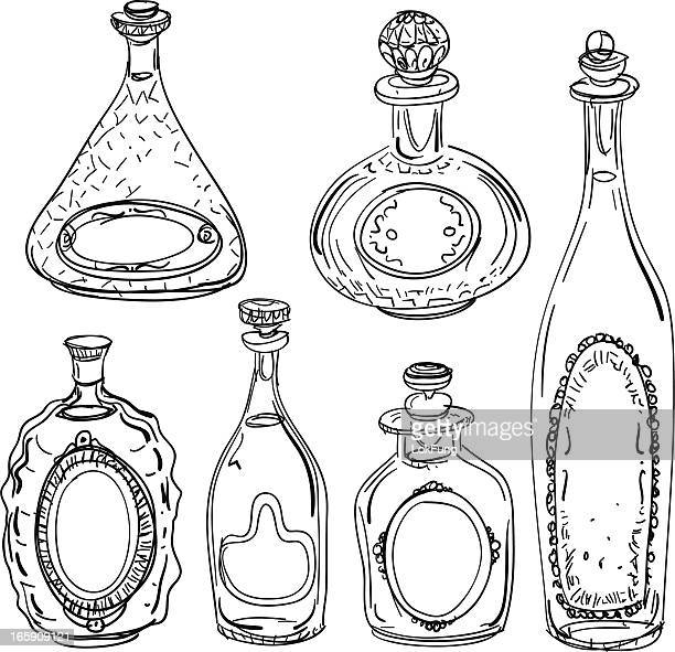 Wine bottles illustration in black and white
