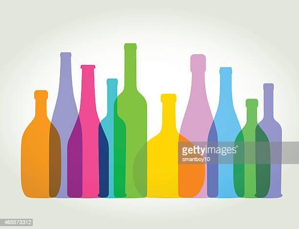 ilustraciones, imágenes clip art, dibujos animados e iconos de stock de botellas de vino - botella de vino