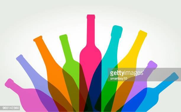wine bottles - wine bottle stock illustrations