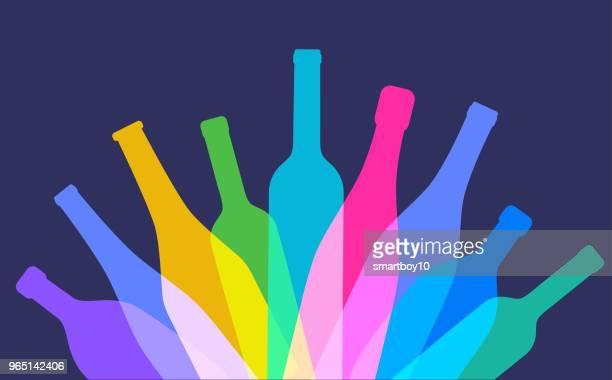 wine bottles - glazed food stock illustrations, clip art, cartoons, & icons