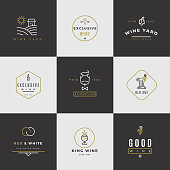 Wine card vector logo set