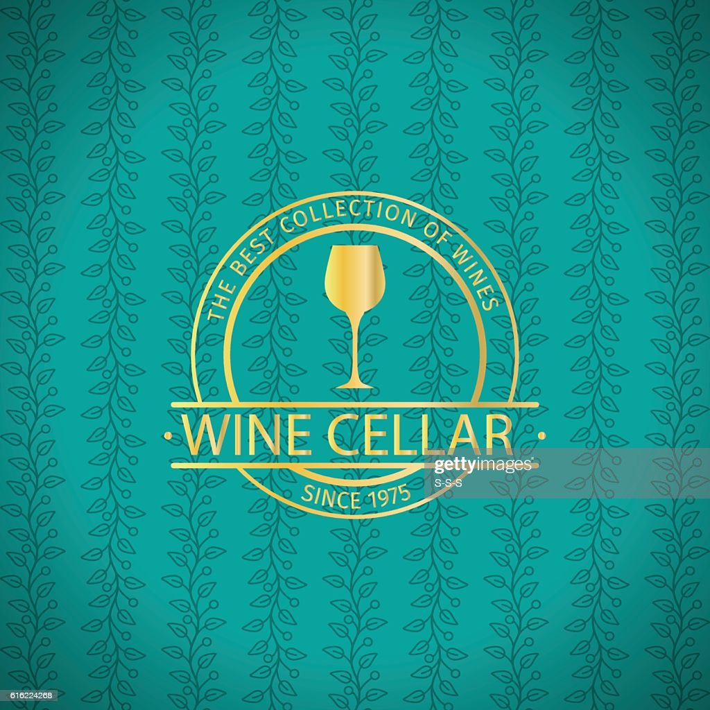 Wine cellar decorative turqiouse card : Vector Art