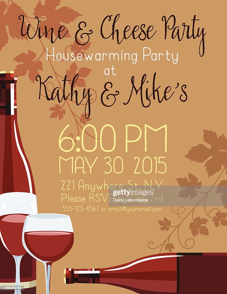 Wine Cheese Housewarming Party Invitation Template Vector Art ...