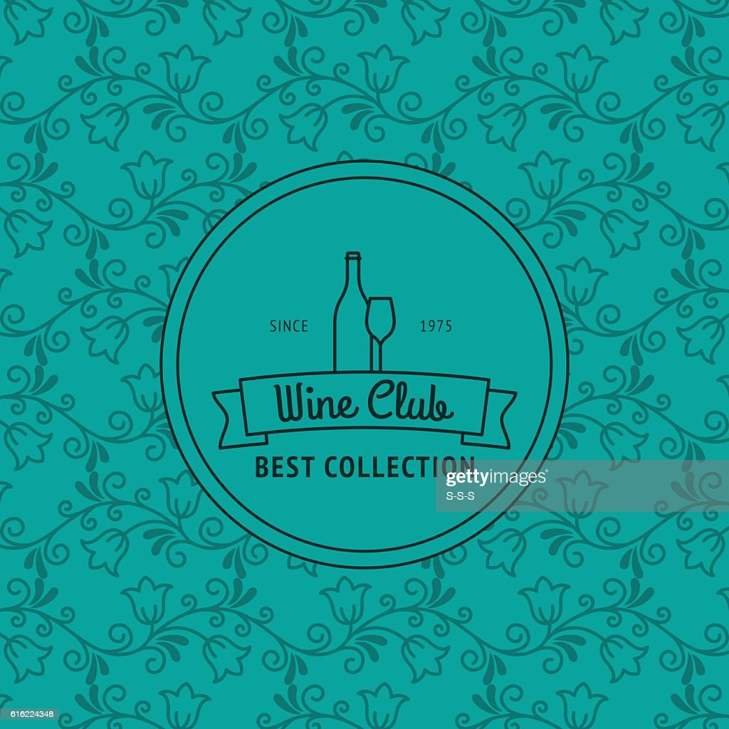 Wine club card with floral pattern : Vektorgrafik