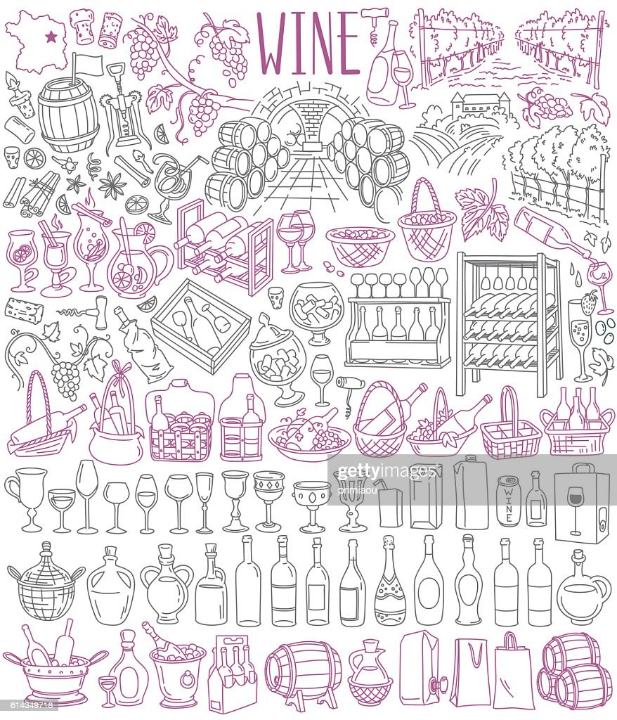 Wine drawings collection