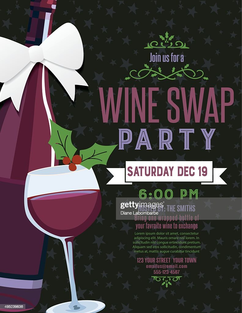 Wine Exchange Party Invite Template Vector Art | Getty Images
