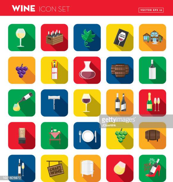wine flat design themed icon set with shadow - red wine stock illustrations, clip art, cartoons, & icons