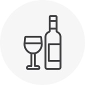 Wine glass and bottle, restaurant  icon