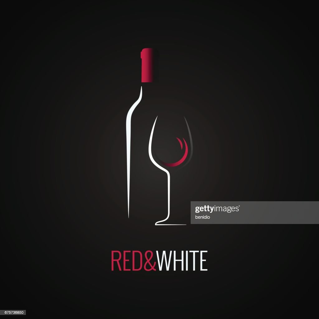 Wine glass. Bottle icon design background