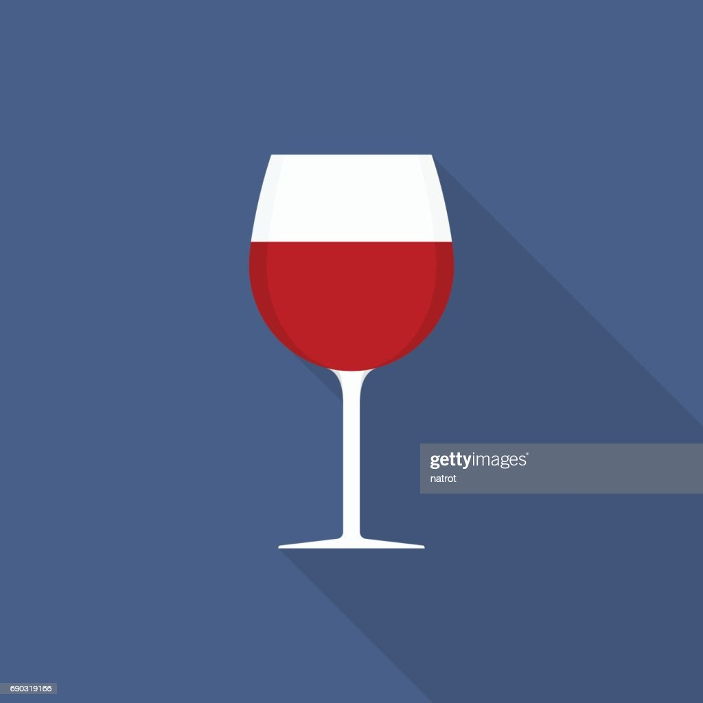 Wine glass icon with long shadow on blue background, flat design styletyle