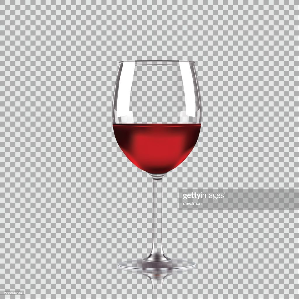 Wine glass with red wine, transparent vector illustration.