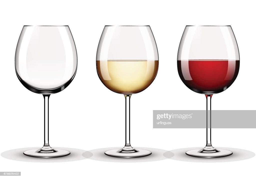 Wine glasses - empty, red wine and white wine