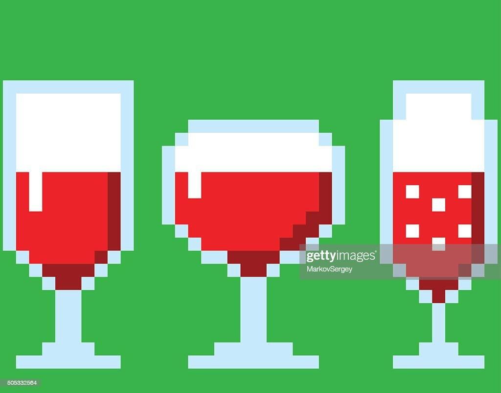 Wine glasses in pixel art style